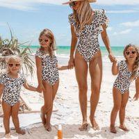 Sports swimwear Female bathing suit One piece Mother daughter family Matching Sexy Ruffle Leopard Women Kids