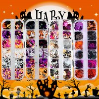 Halloween Nails Glitter Sequins 3D Holographic Skull Spider Pumpkin Bat Ghost Witch Confetti Glitters for DIY Nail Art