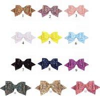 12 Colori 5 pollici Capelli Archi clip Paillette Bow Solid Color Clippers Charm Hairbands Girls Adolescenti Accessori