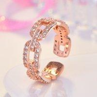 Creux diamant chaîne bague bague doigt rose or ouvert ajustable baguettes chunky pour femmes filles engagement mercrediaire bijoux de mode cadeau et sableux