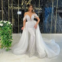 2021 Designer Mermaid Wedding Dress Sparkly Sequins Off The Shoulder Overskirt Bridal Gowns Detachable Train Marriage Dresses robe de mariée