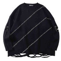 Men's Polos Trendy Oversize Men Black White Knit Paperclip Sweater Autumn Winter Ripped Stripes Street Basketball Skateboard Warm Pullover XB6L