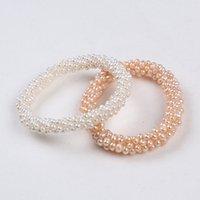 Véritable perle naturelle brins perles blanc blanc couleur rose résilient femmes femmes bijoux de bijoux de la fille bracelet tendance