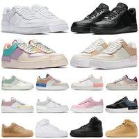 2021 Forças de Qualidade Top Forças Homens Mulheres Low Cut One 1 Sapatos Todos Branco Preto Dunk 1S Esportes Sapato Clássico AF Fly Trainers High Knit Sneakers Casual