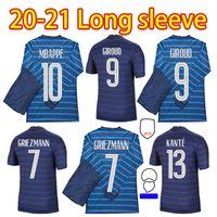 Euro 2021 كأس Mbappe Grizmann فرنسا طويل الأكمام لكرة القدم جيرسي بوجبا جيرود كانتي مايلوت دي القدم النبيذ مايلوتس كرة القدم قميص زي LA 2022 الرجال + أطفال