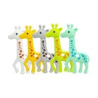 NUEVO Dientes de la jirafa de silicona de la dentición de silicona bebé seguro colgante collar de cuentas masticables lindo sika ciervo toester juguetes de ancianos Regalos de ducha HHF6400