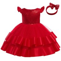 Girls Dresses Children Clothing Kids Clothes 1st Birthday Dress For Baby Girl Princess Christmas Lace Sequin Formal Party Bows Headbands 2Pcs B8534