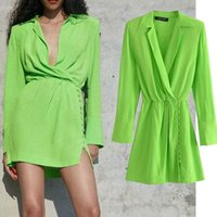 Casual Dresses Nlzgmsj za women dressed in satin shirt with cleavage v mini dress long vintage chic sleeve of this 06 HQCZ