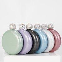 Holografik Glitter Ruh 5oz Paslanmaz Çelik El Boyutu Şişesi ile Rhinestone Cap Kadınlar için Mükemmel Hediye 8GVL