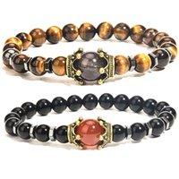 Luxury Crown Natural Tiger Eye Stone Beaded Strands Bracelets Men Antique Charm Bracelet Jewelry Gift