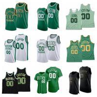 2021 Basketballtröja JAYSON Tatum Jersey 33 Bird Jaylen Brown Kemba Walker Paul Pierce Anpassad Stitched Storlek S-XXXL Andningsbar Snabbtorkat Vit Svart Rött Mesh