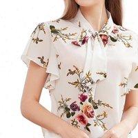 Короткая рукава лук узлы женские рубашки шеи печать случайные печатные отпечатки свободной блузки элегантная камида Camisa Feminina Manga Complya
