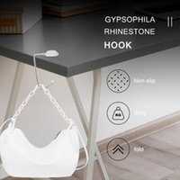 Hooks & Rails Practical Multi-Purpose Folding Table Purse Bag Hook Non-slip Hanger Holder Handbag Crystal Rhinestone Decor