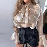 المرأة البلوزات قمصان مضيئة كم طويل الخريف بلوزة قميص للنساء خمر الكشكشة القوس التعادل طوق مكتب أنيق السيدات مثير شير كور