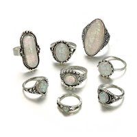 Rings Tocona 8 Stks set Vintage Antique Sier Color Colorful Opal Stone Carve Sets for Women Bohemia Jewelry Anillos 6421
