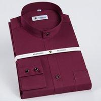الرجال النطاقات طوق طويل الأكمام الصلبة القمصان قمصان واحدة التصحيح الجيب القياسية-صالح الأعمال الرسمية عارضة بلوزة القطن قميص 210506