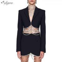 Ailigou Blazer Mini Spódnica Czarny Dwuczęściowy Kobiety Zroszony Tassel High Waist Sexy Suit 2021 Summer Streetwear Dwie kawałki Dress