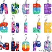 ABD hisse senedi duyusal fidget kabarcık anahtarlık alfabe 26 harfler şekil itme kabarcıklar kurulu anahtarlık parmak puzzle charm kravat boya gökkuşağı