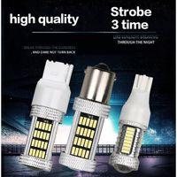 2PCS 92SMD Car Motorcycle LED Bulbs Brake Lamp Reverse Light Turn Signal with Strobe T20 1156 1157 P21W BA15S W21W