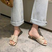 Manlegu Женщины тапочка 2020 летний квадратный носок на высоком каблуке женская кожа сандалии Mujer высокое качество флип флоп платье обувь скольжениями 29rl #