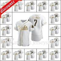 Cincinnati \ Rreds Homens # 5 Johnny Bench 27 Trevor Bauer 7 Eugenio Suarez 19 Joey Votto Mulheres Personalizadas Juventude Authentic Golden Edition Jersey