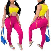 Kadın Pantolon Capris Hirigin Kadınlar Bandaj Kalem Bağlantı Kırpma Üst Sahte 2 adet Kıyafetler Rahat Katı Sıska Artı Boyutu Slim Fit Pantolon