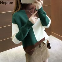 Women's Sweaters Neploe Korean 2021 Autumn Winter Women Knitted Turnleneck Sweater Casual Patchwork Thick Pullovers Loose 45474
