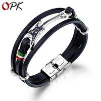 OPK Jewelry Wholesale Fashion Punk Mens Leather Bracelet Street Rock Electric Guitar Leather Bracelet Bracelet