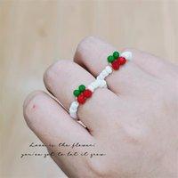 اليدوية والمجوهرات بالجملة الصيف الفاكهة الكرز لطيف الحلو الجمال حبات الكريستال حبات الأرز خاتم اليد