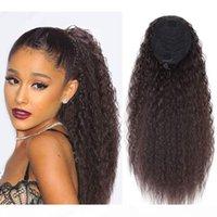 Italien Curie Curly Yaki Droits droits Dessins Ponye de cheval Afro Puff Humain Cheveux Human PonyAil Soft Kinky Courtiers Droits Bun Pince Coiffure Extension de cheveux140g