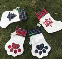 Cadeaux Sacs Sacs Noël Stocking Cat Dog Paw Bas Bas Fluffy Santa Chaussettes Snowflake Xmas Arbre Noël Décoration Festival Sac-cadeau