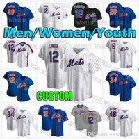 Mens Mulheres Jovens Crianças Mets 12 Francisco Lindor York Pete Alonso 2021 New Jacob Degrrom 6 Jeff McNeil 30 Michael Conforto 17 Keith Hernandez