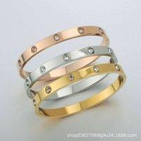 Biens de haute qualité Titanium Steel Steel Love Femme Bijoux Filet Lovers Rouge Coréen Simple Bracelet avec Diamond Pas de boîte originale VIP7