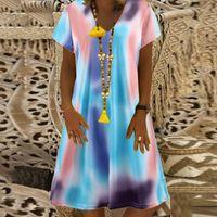 Casual Dresses Big Size Dress Women Summer Loose Short Sleeve V-neck Tie-dye Print Plus Clothing Vestidos