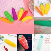멀티 색상 귀여운 야채 과일 펜 연필 케이스 실리콘 고무 지갑 감각 키즈 편지지 가방 주머니 우편 상자 다시 학교 선물 메이크업 화장품 가방 G702SH4