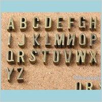 Hallazgos Componentes Joyas AZ Antiguo Sier de Sier Diapositiva Encantos DIY FIT 7mm Pulsera plana Pulsera Plana Alfabeto Letra de palabra 6737 DROP DELI