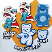 tools embroidery sew on big bear patch,embroidered large chenille bears cartoon badge, animal appliques badges DIY accessory,animals patches for clothing A-21981