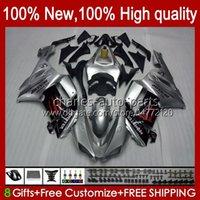 Kawasaki Ninja Motosiklet ZX 636 ZX-600 2007 2008 Vücut 10NO.150 ZX-6R ZX600C ZX636 ZX6R 07 08 ZX 6R 600 CC 600CC 6 R 07-08 Fairing Parlak Gri
