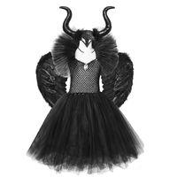 Robes de fille Solide Noir Halloween Costumes Enfants Tutu Bechle Longueur ES Costume Devil Cosplay Cosplay Outfits Horns Wings