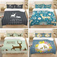 Bedding Sets Cartoon Cute Elk Print Set King Queen Size 3D Animal Down Duvet Covered 2 3 Home Textiles
