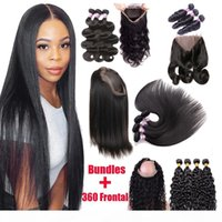 9A Brazilian Virgin Human Hair 3 Bundles With 360 Lace Frontal Closure Straight Body Wave Loose Water Wave 360 Lace Frontal With Bundles