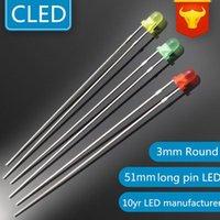 Bulbos 1000 PCS Cor difundida 3mm indicador LEDs lâmpada vermelha / verde / amarelo 51mm pino longo lâmpada LED Lightin Diodo