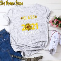 Women's T-Shirt Class Of 2021 Senior Sunflower For Women Letter Printed Tshirts Casual Summer Short Sleeve Tops Tee Shirts Female Cloth