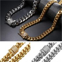 12mm Width Mens Miami Cuban Necklace Chains Iced Out Jewelry Hip Hop Gold Silver Plate 18-30inch Punk Style 316L Stainless Steel Link Double Safety Clasp High Polished