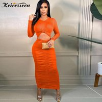 Casual Dresses Kricesseen Sexy Solid Orange Front Hollow Out Ankle Length Dress Women Long Sleeve Ruched Bodycon Clubwear Vestidos