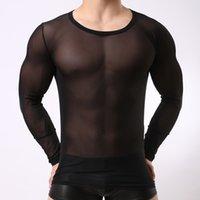 섹시한 남성의 투명한 언더 히트 메쉬 긴 소매 탑스 게이 나이트 클럽 의류 거즈 스타킹 T 셔츠 블랙 화이트