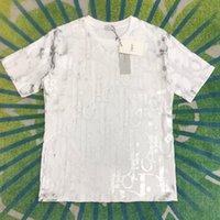 21ss 패션 브랜드 봄과 여름 D 가족 전신 인쇄 편지 자카드 캐주얼 느슨한 둥근 목 짧은 소매 티셔츠 남성 및