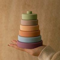 6 stücke Baby Spielzeug Weiche Bausteine Silikon Stapel Runde Form Bau Gummi Zähne Montessori 210803