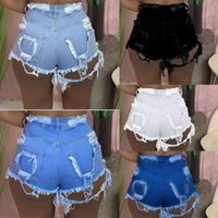 Plus Size S-3X Summer Women blue Jeans Shorts Fashion Rippled Denim Short pants Trendy Clothing Casual black Straight-leg bell bottoms DHL SHIP 4970