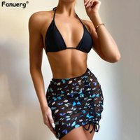 Women's Swimwear Fanuerg Women Butterfly Print Triangle Bikini 3 Piece Swimsuit With Beach Skirt Cover Up Bathing Suits Brazilian Summer